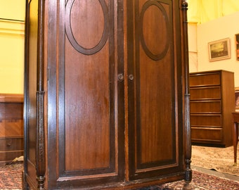 Charmant Antique Mahogany U0026 Walnut Bedroom Wardrobe Closet Armoire