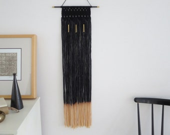 Macrame Wall Hanging, Black, Gold,Gift for her, Modern Macrame, Boho chic, Geometric,Metallic ,Modern Home Decor
