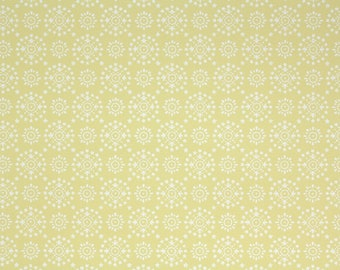 1960s Vintage Wallpaper by the Yard - White Geometric on Yellow