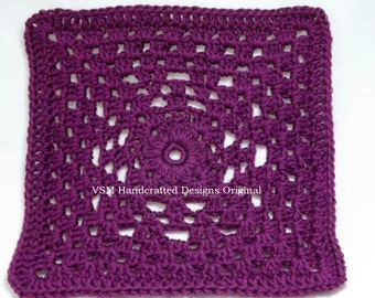 "9"" Granny Square Crochet Pattern- Geometric Diamond Crochet Granny Square Pattern for Intermediates Tutorial"