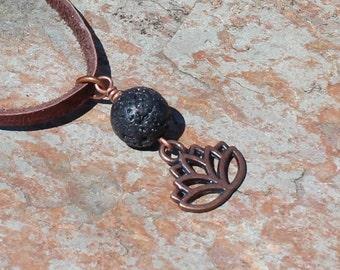 Lotus Flower Lava Bead Diffuser Necklace, Aromatherapy Pendant, Lotus Necklace, Aromatherapy Jewelry, Essential Oil Diffuser, Lava Jewelry