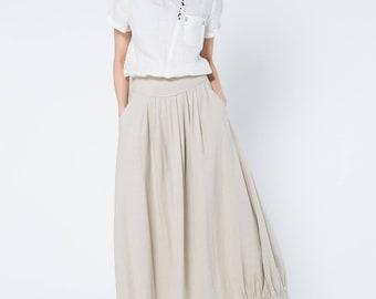 beige linen skirts, full length skirt, linen skirt, long linen skirt, linen summer skirt, elastic waist skirt, skirt with posckets C1104