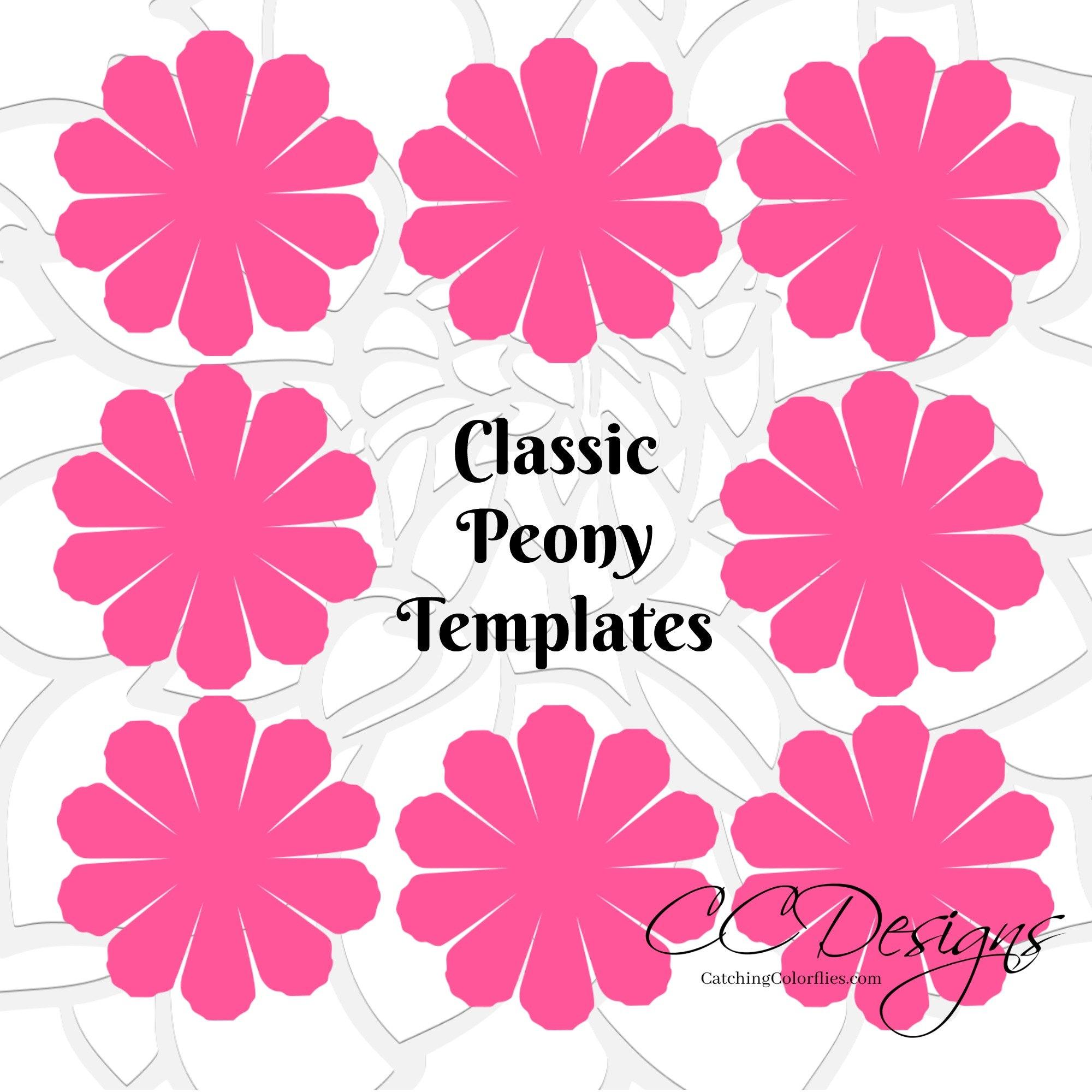 Paper Flower Printable Templates DIY Peony Paper Flowers PDF