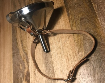 Funnel Gag w/ Premium Horween British Tan Leather Strap