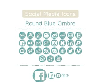 Blue Ombre Watercolor Social Media Icons