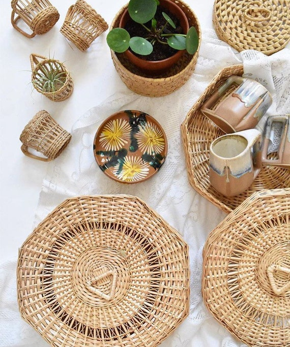 large octagon shaped woven wicker basket trinket gif box with lid