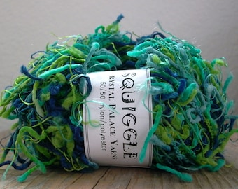crystal palace yarns squiggle 100yd . seven seas 9291 . navy teal blue green funky novelty eyelash art yarn . knitting crochet weaving yarn