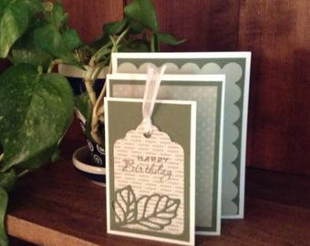 Birthday card - multifold style in green and light taupe with white rose embellishment