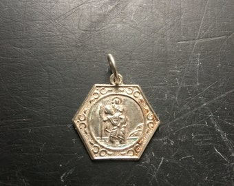 Silver St Christoper pendant / vintage . On silver jump ring