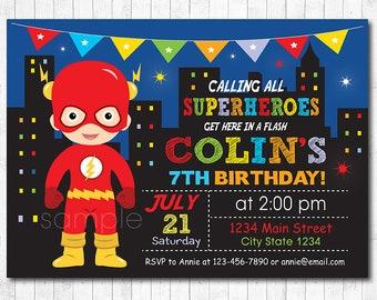 Flash Invitation, Superhero Invitation, Flash Birthday Invitation, Flash Invite, Superhero Birthday, Marvel Invitation, printable