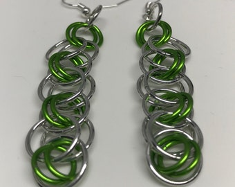 Sale 25% off Green and Silver Helm Chain Chainmaille Dangle Earrings