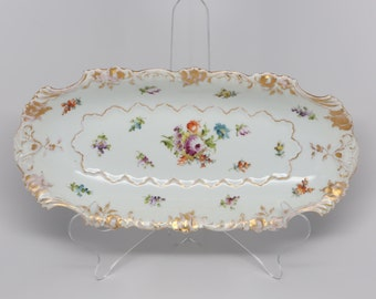 Antique Late 1800's SAX Germany Porcelain Oblong Serving Dish Scalloped edge, Gold Trim, Polychrome Floral Decorations