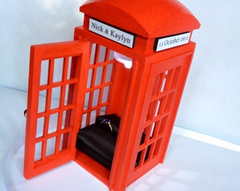 Customized Red Telephone Booth Ring Box With Light. Customized Wedding Ring Box