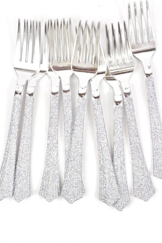 Silver Plastic Fork, Silver Glitter Silverware Silver Glitter Utensils Disposable Party Silverware Decorative Tableware Table Settings