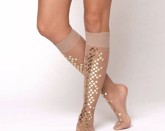 Gold mermaid knee high tights with glossy gold scales/ Nude sheer mermaid scale knee stocking / knee socks