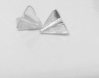 Paper Airplane Studs-Silver
