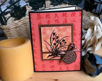 Asian floral note card, Oriental themed note card, Asian themed note card