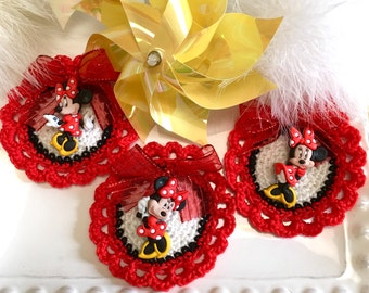 Mouse Crochet Flowers, Set of3, Baby showers, Minnie Mouse, Crochet Flowers.