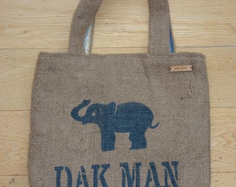 Hessian Elephant Coffee Sack tote. Handmade with 100% recycled fabric & jute. Perfect eco-chic accessory for the environmentally conscious.