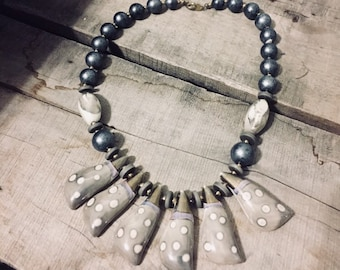 Slate, Grey and White Beaded Statement Necklace