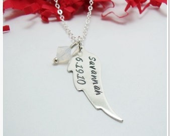 Angel Wing Necklace - Personalized Name Birthdate Birthstone - Sterling Silver Memorial Necklace