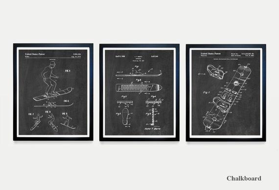 Snowboard Patent Art - Snowboard Art - Snowboard Poster - Snowboarding Art - Snowboarding Patent - Snowboard Decor - X Games - Olympics