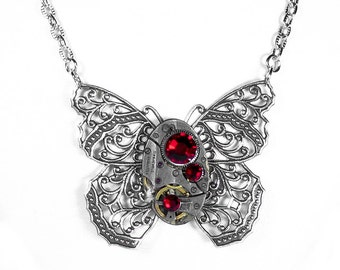 Steampunk Jewelry Necklace Vintage Watch Victorian Silver Filigree BUTTERFLY RED Crystals Mothers Day Gift - Jewelry by Steampunk Boutique