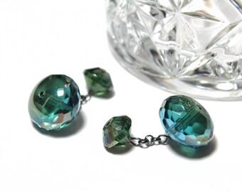 Faceted Green Blue Crystal Cufflinks, Mens Cufflinks with Faceted Blue Green Crystals Handmade Cufflinks