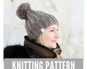 Knitting Pattern / Fair Isle knit hat with pom pom / Winter hat pattern / Easy knitting pattern / Ski hat