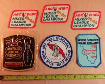 Vintage 80's Lot of 6 Women's Bowling Patches, FWBA, ABC, WIBC, Unused