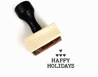 Happy Holidays Rubber Stamp, Holiday Text, Wood Mounted Stamp