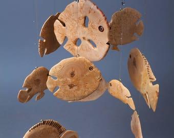 Fish mobile, modern fish decoration, wooden fish mobile, wood decor, wooden mobile, sea decor, marine hanging decor, fishing decor, fish