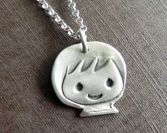 Little boy sterling silver necklace - new mom gift- baby bow shower - cute boy charm
