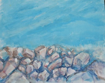 Watercolor painting of a Rocky Shore and the Sea
