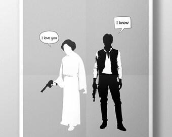 Star Wars Han Solo Princess Leia Limited Edition Art Print