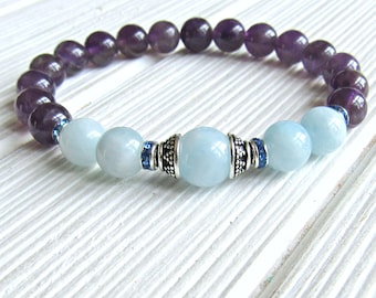 Aquamarine bracelet, Amethyst bracelet, wrist Mala, calming bracelet, Healing bracelet, energy bracelet, mala, yoga bracelet