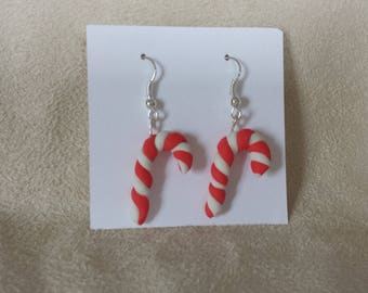 Earrings Cold porcelain candy cane