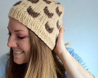Cat Hat, Womens Hat, Women's Cat Hat, Cat Lady Beanie, Knitted Accessories, Beige and Barley