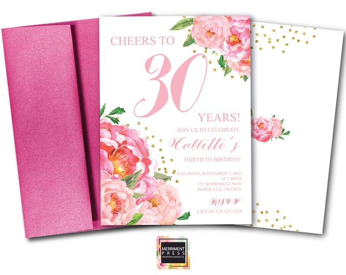 30th Birthday Invitation // Thirtieth Birthday Invitation // Pink Floral // Flowers // Peony // Pink // Gold Glitter // BORDEAUX COLLECTION