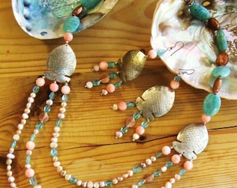 Sterling Silver Copper Fish Coral Amazonite Apatite Pearl Necklace & Earrings