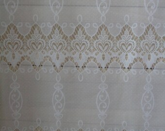 """Vintage Curtain; Lace Curtain / Valance H24.5"""" x W28""""/57"""" Privacy Curtain; Milk White Polyester Lace Cafe Curtain with Scalloped Edge"""