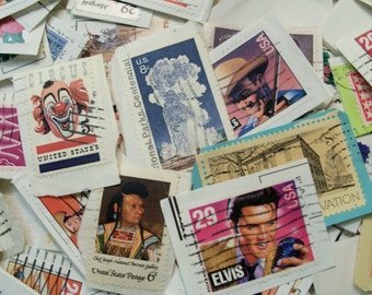 50 US Postage Stamps, Used Stamps, Craft Postage Stamps,  Vintage Stamps, On Paper,