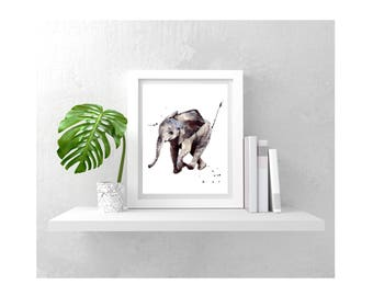 Watercolor ELEPHANT Print, HAITIAN Helpers Fund