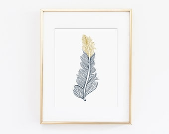 Feather Print, Feather Art Print, Feather Wall Art, Gold Feather - Navy Nursery Art, Tribal Art Print - Printable Art, Instant Download