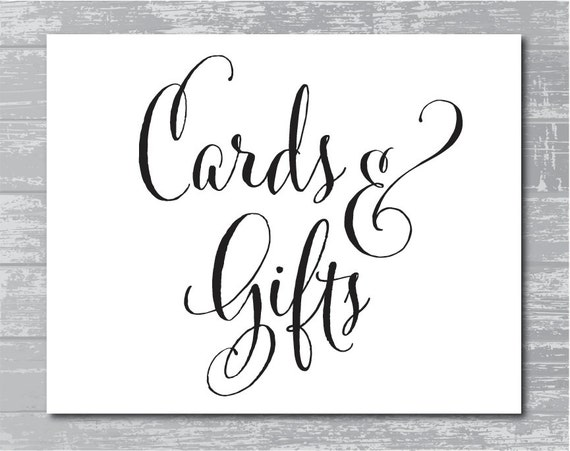 INSTANT DOWNLOAD Cards Gifts Sign 8x10 DIY Wedding
