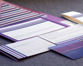 "Modern Wedding Invitations, Eggplant and Purple Invites, Fuschia & Lilac - ""Contemporary Triple Striped"" FP-1L SAMPLE"