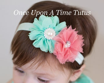 Coral Mint Green Flower Ivory Headband - Shabby Chiffon Flower Hair Bow - Baby Girl or Toddler Hairbow Photo Prop - Easter Spring or Summer