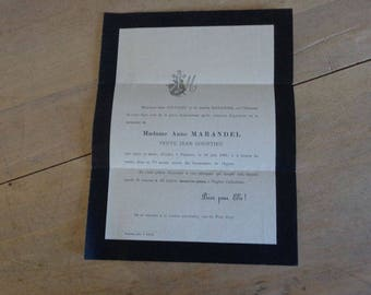 Antique French Funeral invitation 1889 with handwritten declaration on back