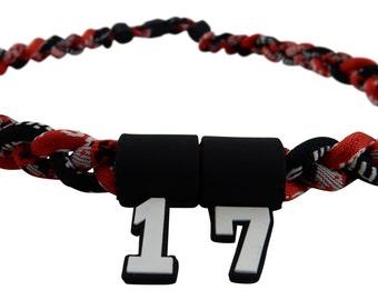 PICK YOUR NUMBER - Red Digital Camo Black Tornado Necklace