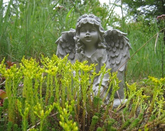Angel Statue, Angel Girl Concrete Garden Statue, Concrete Garden Statues, Girl Angels, Kneeling Angel Statues, Garden Decor, Garden Angels